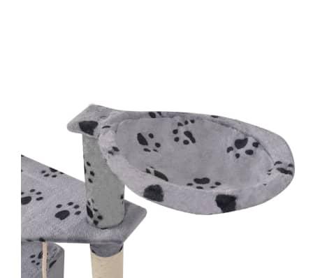 "Cat Tree 75"" Gray with Paw Prints Plush[6/6]"