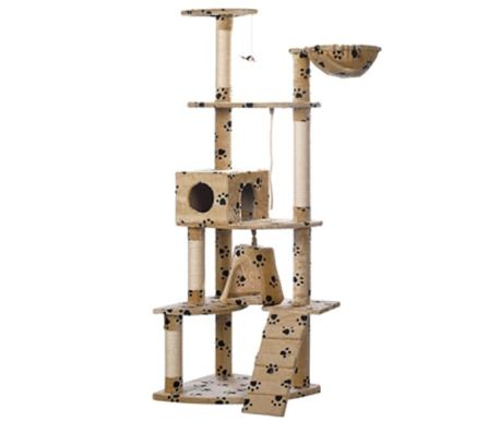 "Cat Tree 75"" Beige with Paw Prints Plush[1/2]"