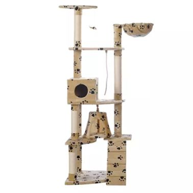 "Cat Tree 75"" Beige with Paw Prints Plush[2/2]"