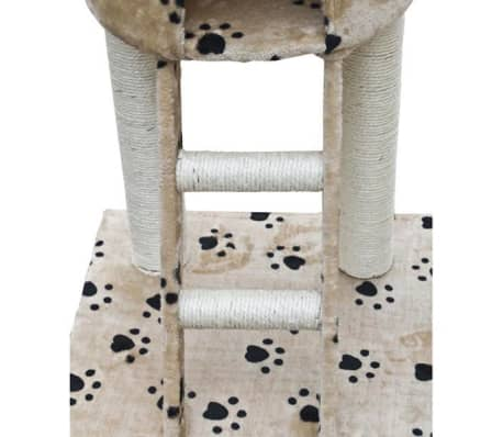 "Cat Tree Deluxe 90"" - 102"" Beige with Paw Prints Plush[3/5]"