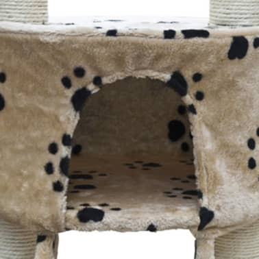 "Cat Tree Deluxe 90"" - 102"" Beige with Paw Prints Plush[4/5]"