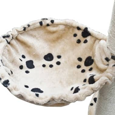 """Cat Tree Deluxe 90"""" - 102"""" Beige with Paw Prints Plush[5/5]"""
