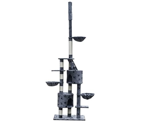 "Cat Tree Cuddles XL 90"" - 102"" Gray with Paw Prints Plush[1/5]"