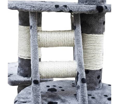 "Cat Tree Cuddles XL 90"" - 102"" Gray with Paw Prints Plush[3/5]"