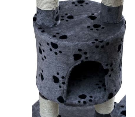 "Cat Tree Cuddles XL 90"" - 102"" Gray with Paw Prints Plush[4/5]"