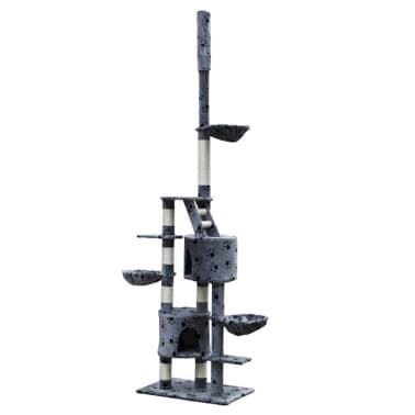 "Cat Tree Cuddles XL 90"" - 102"" Gray with Paw Prints Plush[2/5]"