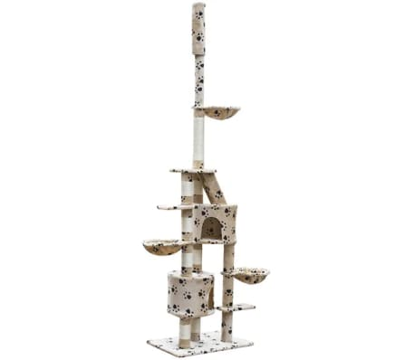 "Cat Tree Cuddles XL 90"" - 102"" Beige with Paw Prints Plush[2/5]"