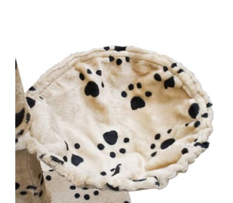 "Cat Tree Cuddles XL 90"" - 102"" Beige with Paw Prints Plush[5/5]"