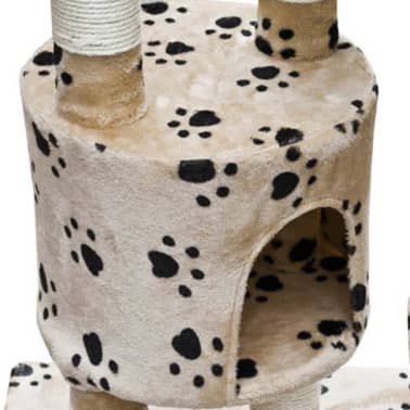 "Cat Tree Cuddles XL 90"" - 102"" Beige with Paw Prints Plush[3/5]"