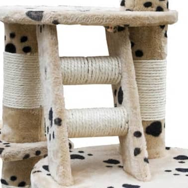 "Cat Tree Cuddles XL 90"" - 102"" Beige with Paw Prints Plush[4/5]"