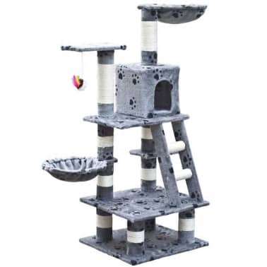 "Cat Tree 48"" Gray with Paw Prints Plush[1/5]"
