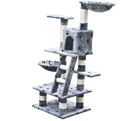 "Cat Tree 48"" Gray with Paw Prints Plush[2/5]"