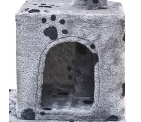 "Cat Tree 48"" Gray with Paw Prints Plush[3/5]"