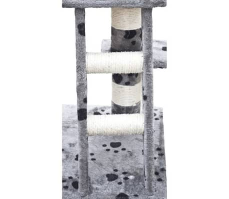 "Cat Tree 48"" Gray with Paw Prints Plush[4/5]"