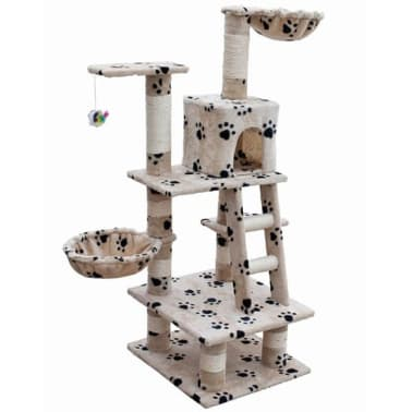 "Cat Tree 48"" Beige with Paw Prints Plush[1/5]"