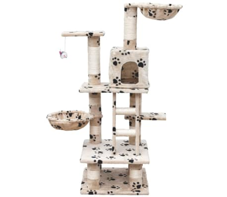 "Cat Tree 48"" Beige with Paw Prints Plush[2/5]"