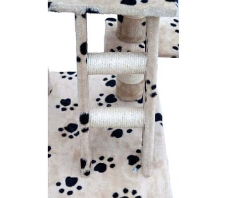 "Cat Tree 48"" Beige with Paw Prints Plush[4/5]"