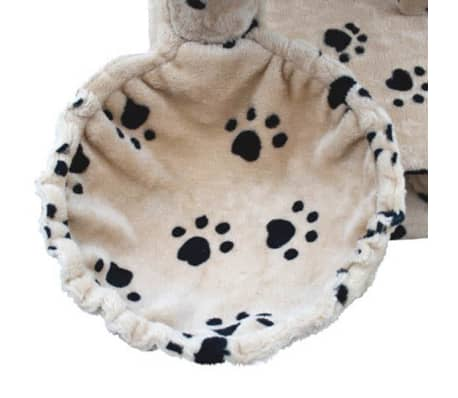 "Cat Tree 48"" Beige with Paw Prints Plush[5/5]"
