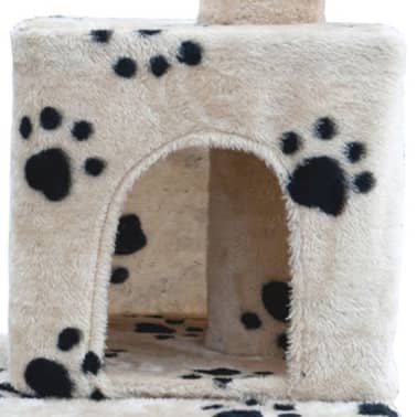 "Cat Tree 48"" Beige with Paw Prints Plush[3/5]"