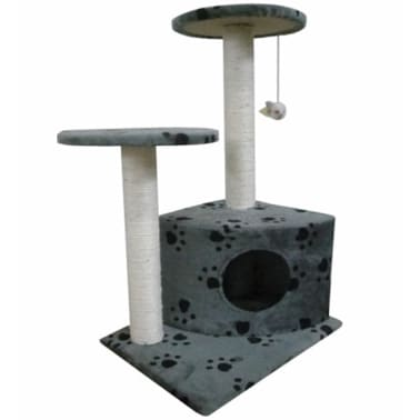 "Cat Tree 28"" Gray with Paw Prints Plush[1/3]"