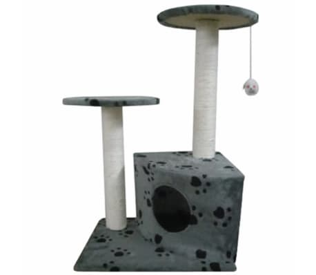 "Cat Tree 28"" Gray with Paw Prints Plush[2/3]"