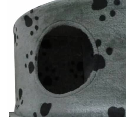 "Cat Tree 28"" Gray with Paw Prints Plush[3/3]"