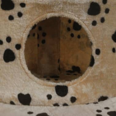 "Cat Tree 28"" Beige with Paw Prints Plush[3/3]"