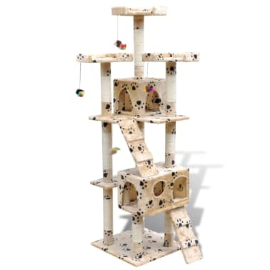 "Cat Tree Scratching Post 67"" 2 Condos Beige with Paw Prints[1/3]"