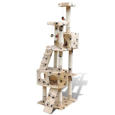 "Cat Tree Scratching Post 67"" 2 Condos Beige with Paw Prints[2/3]"
