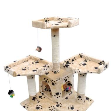 "Cat Tree Scratching Post 67"" 2 Condos Beige with Paw Prints[3/3]"