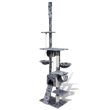 "Cat Tree Scratching Post 87"" - 94"" 1 Condo Gray with Paw Prints[3/5]"