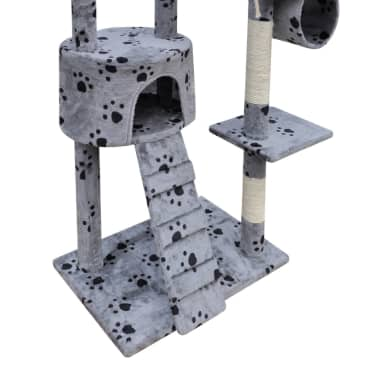 "Cat Tree Scratching Post 87"" - 94"" 1 Condo Gray with Paw Prints[5/5]"