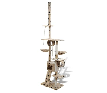 "Cat Tree Scratching Post 87"" - 94"" 1 Condo Beige with Paw Prints[1/5]"