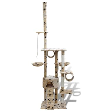 "Cat Tree Scratching Post 87"" - 94"" 1 Condo Beige with Paw Prints[2/5]"