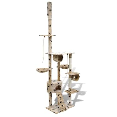 "Cat Tree Scratching Post 87"" - 94"" 1 Condo Beige with Paw Prints[3/5]"