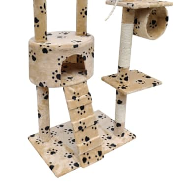 "Cat Tree Scratching Post 87"" - 94"" 1 Condo Beige with Paw Prints[5/5]"