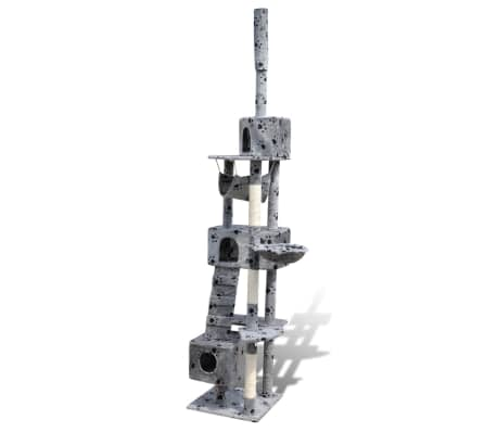 "Cat Tree Scratching Post 87"" - 94"" 3 Condos Gray with Paw Prints[3/5]"