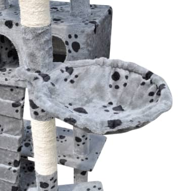 "Cat Tree Scratching Post 87"" - 94"" 3 Condos Gray with Paw Prints[4/5]"