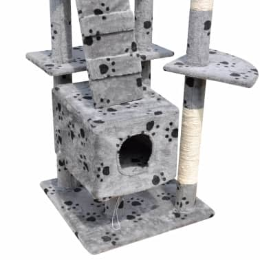 "Cat Tree Scratching Post 87"" - 94"" 3 Condos Gray with Paw Prints[5/5]"