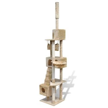 "Cat Tree Scratching Post 87"" - 94"" 3 Condos Beige[3/5]"