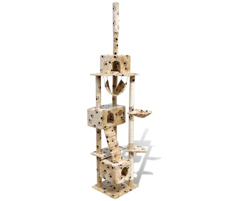 "Cat Tree Scratching Post 87"" - 94"" 3 Condos Beige with Paw Prints[1/5]"