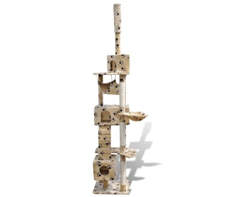 "Cat Tree Scratching Post 87"" - 94"" 3 Condos Beige with Paw Prints[2/5]"
