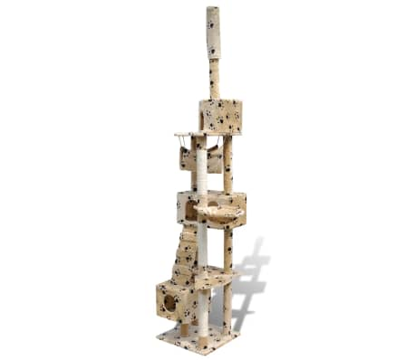 "Cat Tree Scratching Post 87"" - 94"" 3 Condos Beige with Paw Prints[3/5]"