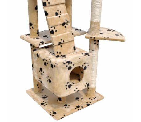 "Cat Tree Scratching Post 87"" - 94"" 3 Condos Beige with Paw Prints[4/5]"