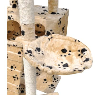 "Cat Tree Scratching Post 87"" - 94"" 3 Condos Beige with Paw Prints[5/5]"