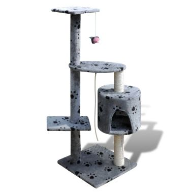 "Cat Tree Scratching Post 45"" 1 Condo Gray with Paw Prints[1/3]"