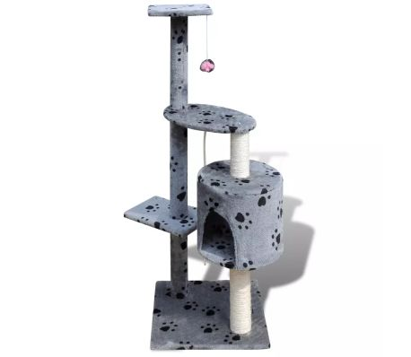"Cat Tree Scratching Post 45"" 1 Condo Gray with Paw Prints[2/3]"