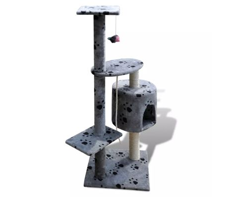 "Cat Tree Scratching Post 45"" 1 Condo Gray with Paw Prints[3/3]"