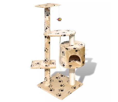 "Cat Tree Scratching Post 45"" 1 Condo Beige with Paw Prints[1/3]"