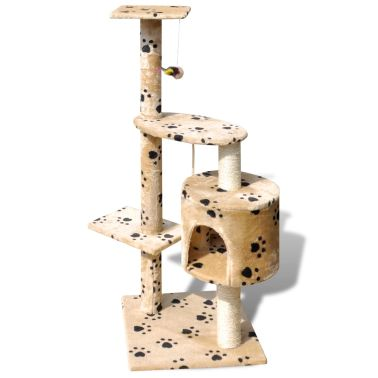 "Cat Tree Scratching Post 45"" 1 Condo Beige with Paw Prints[2/3]"